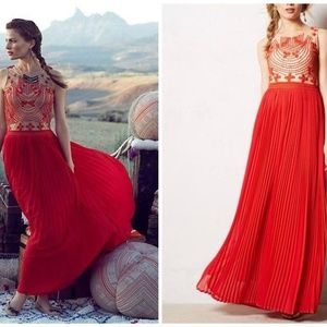 Anthropologie Red Lace and Tan Maxi Evening dress